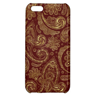 Gold & Burgundy Red Floral Paisley Pattern Cover For iPhone 5C