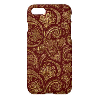 Gold & Burgundy Red Floral Paisley Pattern iPhone 8/7 Case