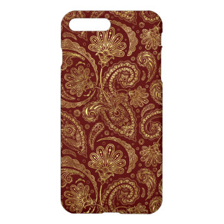 Gold & Burgundy Red Floral Paisley Pattern iPhone 8 Plus/7 Plus Case