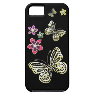 Gold Butterflies and Gem Flowers Case for iPhone 5