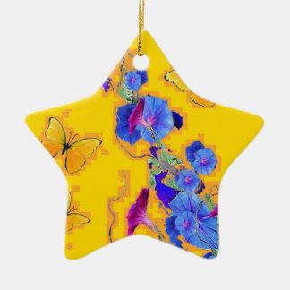 gold Butterflies Blue Morning glories Ceramic Ornament