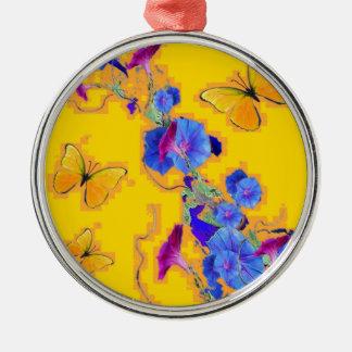 gold Butterflies Blue Morning glories Metal Ornament