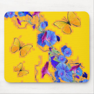 gold Butterflies Blue Morning glories Mouse Pad