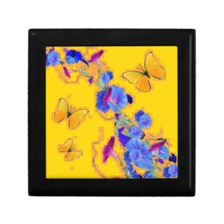 gold Butterflies Blue Morning glories Small Square Gift Box