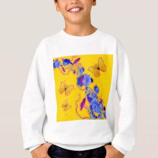 gold Butterflies Blue Morning glories Sweatshirt