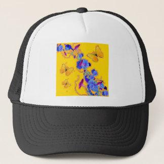 gold Butterflies Blue Morning glories Trucker Hat