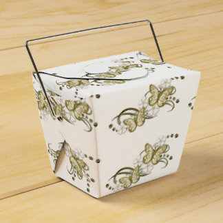 Gold Butterflies Floral Pattern Take Out Favor Box