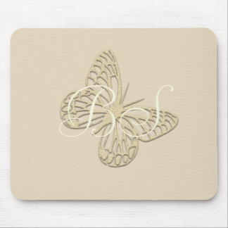 Gold Butterfly Add Initials Mousepad