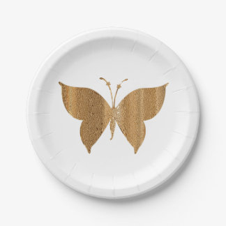 "Gold Butterfly Cocktail Snack 7"" Plate"