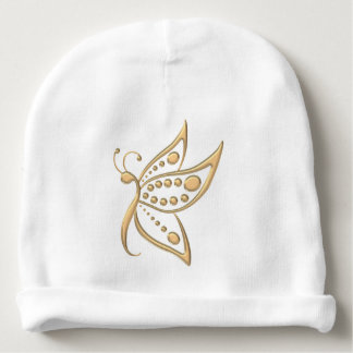 Gold Butterfly Dots Baby Beanie
