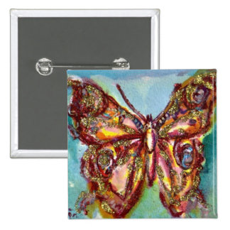 GOLD BUTTERFLY IN BLUE 15 CM SQUARE BADGE