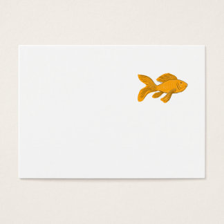 Gold Butterfly Koi Swimming Drawing Business Card