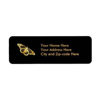 Gold Butterfly Return Address Label
