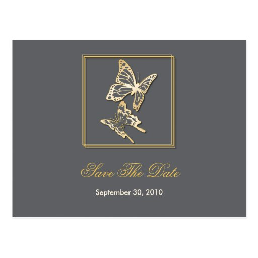 Gold Butterfly Save The Date Wedding Announcement Postcard
