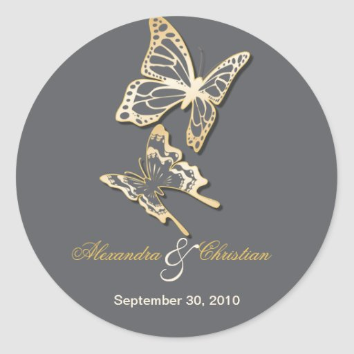 Gold Butterfly Save The Date Wedding Announcement Round Sticker