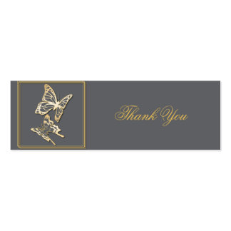 Gold Butterfly Thank You Custom Tag Pack Of Skinny Business Cards