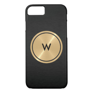 Gold Button and Black Stainless Steel Metal iPhone 7 Case