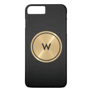 Gold Button and Black Stainless Steel Metal iPhone 7 Plus Case