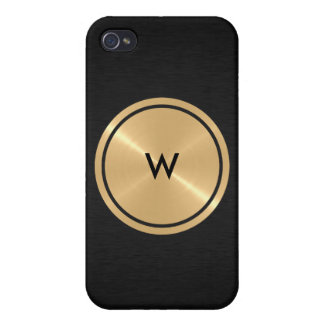 Gold Button and Black Stainless Steel Metal Cases For iPhone 4