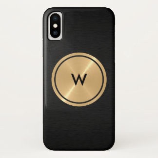 Gold Button and Black Stainless Steel Metal iPhone X Case