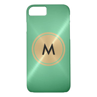 Gold Button and Mint Stainless Steel Metal iPhone 7 Case