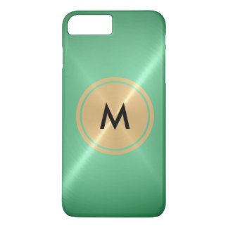 Gold Button and Mint Stainless Steel Metal iPhone 7 Plus Case
