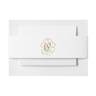 "Gold ""C"" Monogram on Belly Band for Formal Suites Invitation Belly Band"
