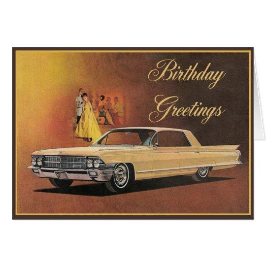 Gold Cadillac Elegant Birthday Card