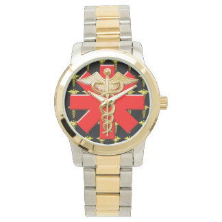 Gold Caduceus And Medical Cross Wrist Watches
