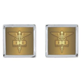 Gold Caduceus (DO) Silver Finish Cufflinks