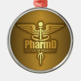 Gold Caduceus (PharmD) Silver-Colored Round Decoration