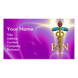 GOLD CADUCEUS REGISTERED NURSE SYMBOL Fuchsia Pink Business Card