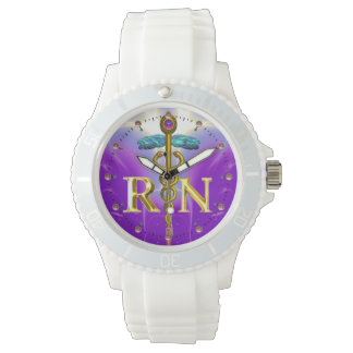 GOLD CADUCEUS REGISTERED NURSE SYMBOL /Purple Watch