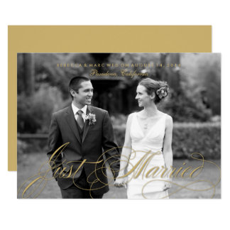 Gold Calligraphy Just Married Photo Announcement