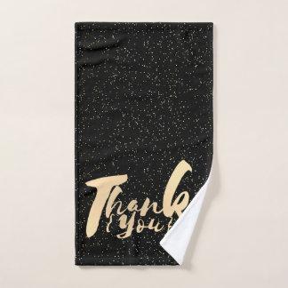 Gold Calligraphy Thank You Dots on Black Faux Foil Bath Towel Set