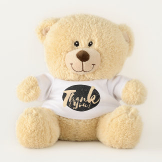 Gold Calligraphy Thank You Dots on Black Faux Foil Teddy Bear
