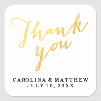 Gold Calligraphy | Wedding Thank You Sticker