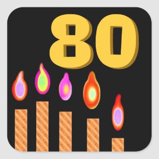 Gold Candles 80th Birthday Square Sticker