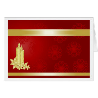 Gold candles and flowers on a red background greeting card