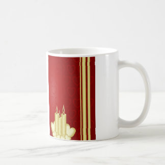 Gold candles and red hearts on red basic white mug
