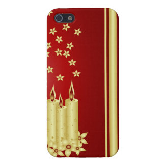 Gold candles, flowers and stars on red iPhone 5 covers