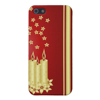 Gold candles, flowers and stars on red iPhone 5 case
