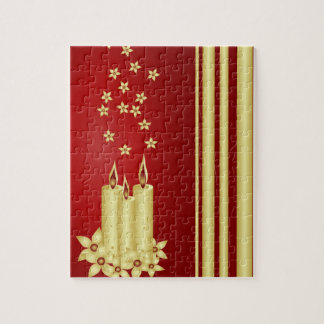 Gold candles, flowers and stars on red jigsaw puzzles