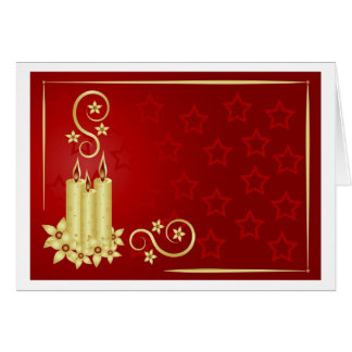 gold candles, flowers and swirls on red background greeting card