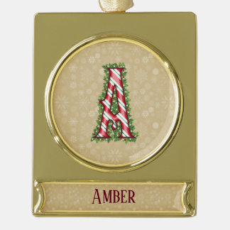 Gold Candy Cane Striped Letter A Gold Plated Banner Ornament