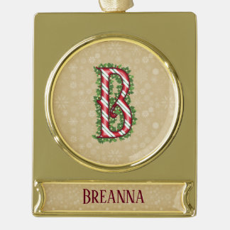 Gold Candy Cane Striped Letter B Gold Plated Banner Ornament