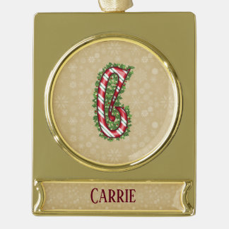 Gold Candy Cane Striped Letter C Gold Plated Banner Ornament