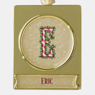 Gold Candy Cane Striped Letter E Gold Plated Banner Ornament