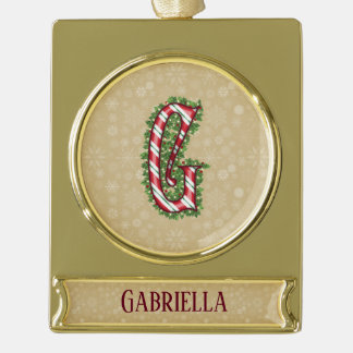 Gold Candy Cane Striped Letter G Gold Plated Banner Ornament