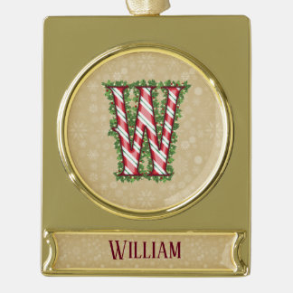 Gold Candy Cane Striped Letter W Gold Plated Banner Ornament